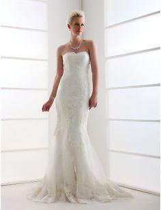Lan Ting Trumpet/Mermaid Plus Sizes Wedding Dress - Ivory Sweep/Brush Train Sweetheart Tulle 2016 - $199.99
