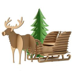 Quality Cute Decoration Christmas Tree Reindeer Snow Sledge Toys Kids Craft DIY Cardboard Puzzle Deer Sled Model Ornaments Xmas Gifts with free worldwide shipping on AliExpress Mobile Cardboard Christmas Tree, Christmas Wood Crafts, Diy Christmas Tree, Christmas Gifts For Kids, Outdoor Christmas Decorations, Christmas Ornaments, Xmas Gifts, Craft Gifts, Diy Gifts