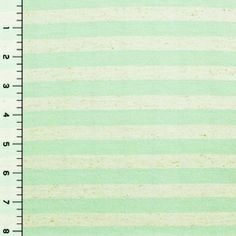 Mint Green and Flax Stripe Cotton Jersey Blend Knit Fabric