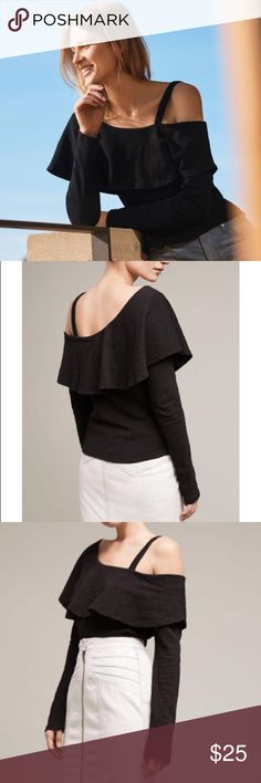 """NWT! Anthropologie Asymmetrical Ruffle Top Brand new with tags!! Long sleeve asymmetrical black top with ruffle detail at the shoulder, one shoulder strap. 23"""" long, made from cotton, pullover styling. Super cute top for spring as the weather starts getting warmer! Anthropologie Tops"""