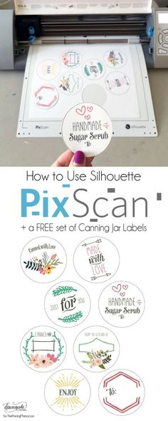 How to Use Silhouette PixScan - tutorial and free set of Canning Jar Labels! - How to Use Silhouette PixScan – tutorial and free set of Canning Jar Labels! Machine Silhouette, Silhouette School, Silhouette Cutter, Silhouette Vinyl, Silhouette Files, Silhouette Design, Silhouette Studio, Silhouette America, Silhouette Cameo Free
