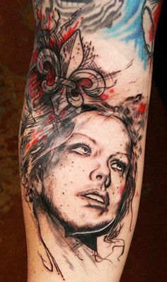 Abstract Face Tattoo by Leonidas Lonis Tattoo - http://worldtattoosgallery.com/abstract-face-tattoo-by-leonidas-lonis-tattoo/