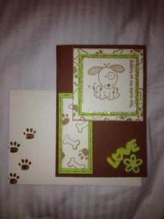 Green & brown dog card