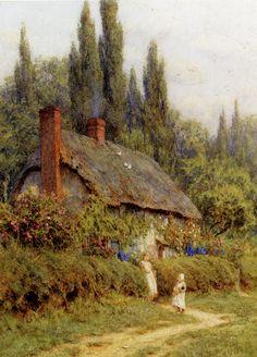 """Acuarela de Helen Allingham mostrando un """"cottage garden"""" en West Horsley, Surrey."""