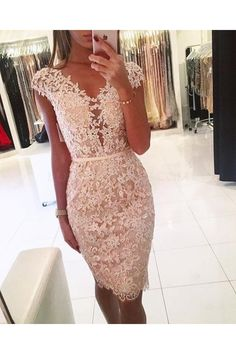 Cap Sleeves Lace Short V-Neck Prom Formal Evening Party Dresses 996021344 - Prom Dresses Design Lace Dresses, Elegant Dresses, Sexy Dresses, Short Dresses, Short Lace Dress, Knee Length Cocktail Dress, Short Cocktail Dress, Prom Dresses 2017, Bridesmaid Dresses