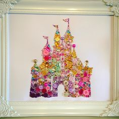 Handmade disney castle Swarovski crystal / button frame. Easy order, see board description.