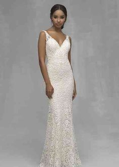Wedding Dress by Allure Couture - Search our photo gallery for pictures of wedding dresses by Allure Couture. Find the perfect dress with recent Allure Couture photos. V Neck Wedding Dress, Wedding Dress Styles, Bridal Dresses, Flower Girl Dresses, Bridesmaid Dresses, Gown Wedding, Vows Bridal, Allure Couture, Couture Wedding Gowns