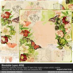Blendable Layers No. 66 vintage collage art is easy with these PNG layers of vintage botanicals, butterflies and ephemera available for instant download #designerdigitals