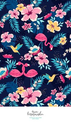 Neon Jungle - a micropen style textile surface pattern design with jungle, flamingo and coliber motifs.
