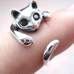 ( orden mínima es de $10) caliente- la venta de la personalidad de la moda anillo gato menique la apertura de anillo de accesorios