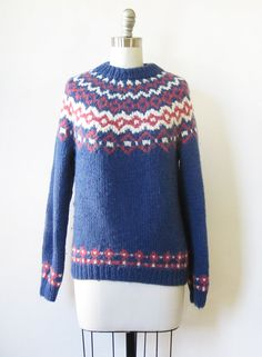 fair isle sweater vintage 70s nordic sweater by RustBeltThreads