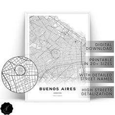 Buenos Aires Map Printable Wall Art, Maps As Art, Printable Map Of Buenos Aires Wall Art Prints, Map Gifts, Buenos Aires City Map Wall Art Map Wall Art, Map Art, Wall Art Prints, New York City Map, City Maps, Printable Maps, Printable Wall Art, Custom Map, Map Design