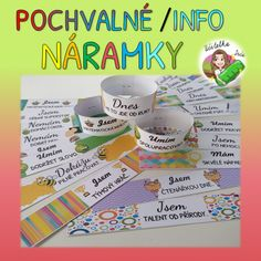 Produkt - POCHVALNÉ A INFO NÁRAMKY Games For Kids, Activities For Kids, Tumblr, Educational Toys, Classroom Decor, Montessori, Diy And Crafts, Kindergarten, Teaching