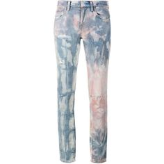 Faith Connexion Tie Die Distressed Jeans ($95) ❤ liked on Polyvore featuring jeans, pants, pink, tie dye jeans, destructed jeans, destruction jeans, faith connexion and pink jeans