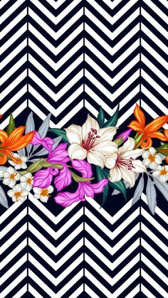 Floral elements with a vibrant color scheme on a Chevron pattern background. Vector tropical leaves and flowers seamless pattern. Hand painted illustration on geometric background Cute Backgrounds, Cute Wallpapers, Wallpaper Backgrounds, Iphone Wallpaper, Chevron Phone Wallpapers, Chevron Wallpaper, Chevron Pattern Background, Geometric Background, Background Patterns