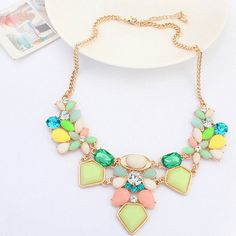 The Latest Creations, Fashion #Statement #Necklace, with #Resin and #Rhinestone.