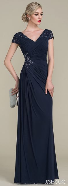 JJsHouse A-Line/Princess V-neck Floor-Length Jersey Mother of the Bride Dress With Beading JJsHouse A-Line/Princess V-neck Floor-Length Beading Zipper Up at Side Sleeves Short Sleeves No Dark Navy General Plus Jersey Mother of the Bride Dress. Mother Of Bride Outfits, Mother Of The Bride Gown, Mother Of Groom Dresses, Mothers Dresses, Mob Dresses, Bridesmaid Dresses, Formal Dresses, Wedding Dresses, Champagne Color Dress