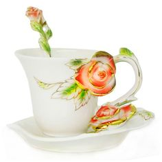 Choholete Porcelain Ceramic Tea Coffee Cup Set Elegant Golden Red Rose 1 Cup 1 Saucer 1 Spoon Choholete http://www.amazon.com/dp/B00M40IVUU/ref=cm_sw_r_pi_dp_.glkub1T66D3T