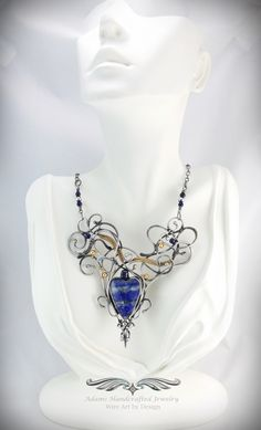 """Lovers Inferno"" -- Lapis Lazuli Heart Pendant Necklace 14K GF & Fine Silver w/ Sapphire (.50 ct). Original design by Daryl Adams."