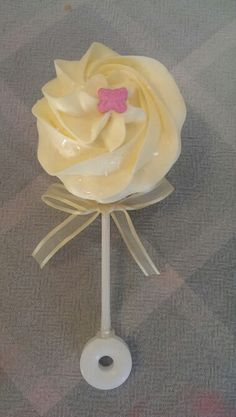 Baby rattle cupcake