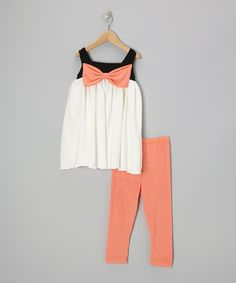 Take a look at this Coral Bow Tunic & Leggings - Infant, Toddler & Girls by Kid Fashion on #zulily today!