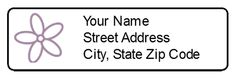 Return address labels with purple flower.  This label template prints 80 labels per sheet.