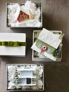 Snowy Village Ornaments: Make-It-Yourself Holiday Ornaments Replicate your home or create an entire village with these ornamental abodes that are decked out for the holidays.