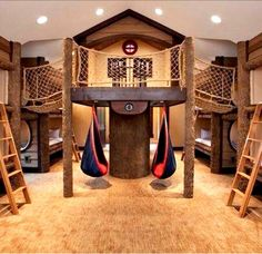 Indoor fort.  Great idea for a bunk room.