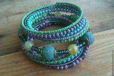 """Браслет """"Ундина"""" - тёмно-бирюзовый,зеленый браслет,зеленый агат,браслет с камнями"""