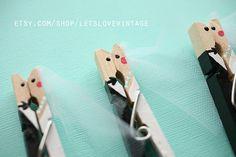Custom Bridal Shower Favors - Wedding Favors - 25 Handpainted Bride Groom Kissing Clothespins on Etsy, $75.00