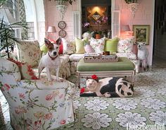 Pooch on Cozy, Chintz Chair. Designer Mimi McMakin's real life pooch prefers a cozy chintz chair rather than the floor, where a carved-wood cat presides over the living room.