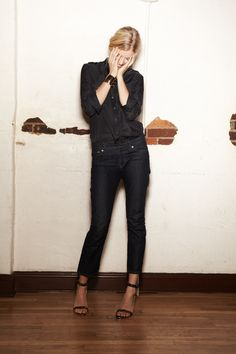 black cropped skinnies, heels with an ankle strap, with a black button down. genius.