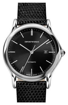 Men's Emporio Armani Swiss Made Automatic Lizardskin Strap Watch