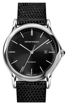 Men's Emporio Armani Swiss Made Automatic Lizardskin Strap Watch