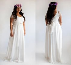 2015 Plus Size Beach Wedding Dresses Long Lace Bridal Gowns A-Line Scoop Backless Cap Sleeve Cheap Wedding Gown Bridal Dress Sweep Train Online with $105.97/Piece on Magicdress2011's Store | DHgate.com