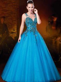 vestido de debutante longo azul ellegancy costuras www.elcosturas.com.br