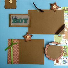 2 BABY BOY premade 12x12 scrapbook pages on Etsy, $10.00