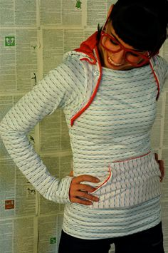 lightweight cotton Hoodie White Stripes and Coral.  by sewmoe, $76.00