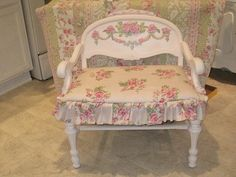 Painted Rose Applique Shabby Chair