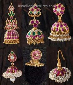 Six Awesome designs of Ruby jhumkas made with real rubies ,emeralds and flat diamonds. cute jumka designs will steal the hearts for sure. Very traditional looking earrings specially designed for south indian women. Ruby Jewelry, India Jewelry, Jewelry Findings, Gold Jewelry, Indian Jewellery Design, South Indian Jewellery, Jewelry Design, Antic Jewellery, Temple Jewellery