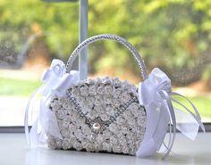 Floral Purse, Flower Girl Purse, Wedding Accessories, Purse Bouquet, Handbag Flower Girl, Pink Paper Flower, Satin Ribbon Bow