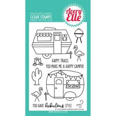 "Glamper Campers 4""x6"" Clear Stamp Set by Avery Elle"