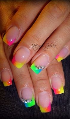 Neon Tip Nails