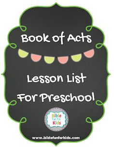 Book of Acts Bible lessons for preschool Preschool Sunday School Lessons, Toddler Sunday School, Preschool Bible Lessons, Preschool Lesson Plans, Preschool Books, Kindergarten Class, Preschool Classroom, Bible Stories For Kids, Bible For Kids
