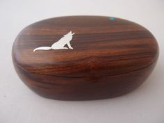 Ironwood box sterling silver coyote design inlay by Lawrence Favorite featured at Spirits in the Wind Gallery, Golden, CO  80401