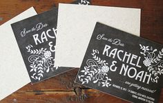 chalkboard save the date with natural linen backing