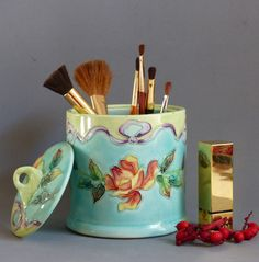 French Vintage Longchamp Pottery Jar. Trinket Box. Jam Jar. Honey Pot. Cotton Wool Holder. Makeup Brush Holder. Bedroom Decor CHRISTMAS GIFT by JadisInTimesPast on Etsy