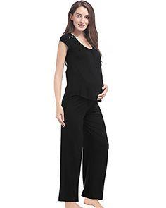 94e59bf4f GYS Women Maternity Pajama Nursing Sleepwear Pants Set BlackS ** Click for  Special Deals #MaternitySleepwear