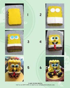 Spongebob squarepants cake decorating step by step Tutorial Fondant Figures, Fondant Cakes, Cupcake Cakes, 3d Cakes, Cake Decorating Techniques, Cake Decorating Tutorials, Marzipan, 3d Cake Tutorial, Bolo Diy