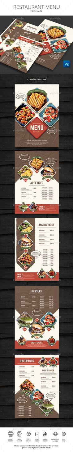 Restaurant Menu — Photoshop PSD #business #menu design • Download ➝ https://graphicriver.net/item/restaurant-menu/20131488?ref=pxcr